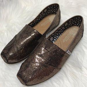 LIKE NEW Toms Bronze Glitter Classic 7.5